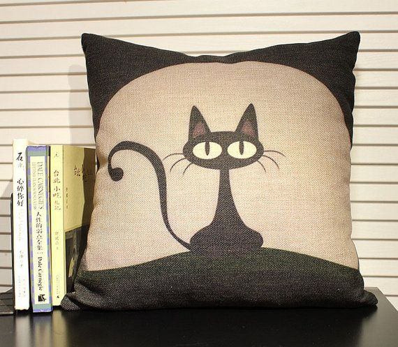 Lonely Cat under the Moon Heavy Cotton Linen Pillow Cover Back Cushion Cover gift home decoration