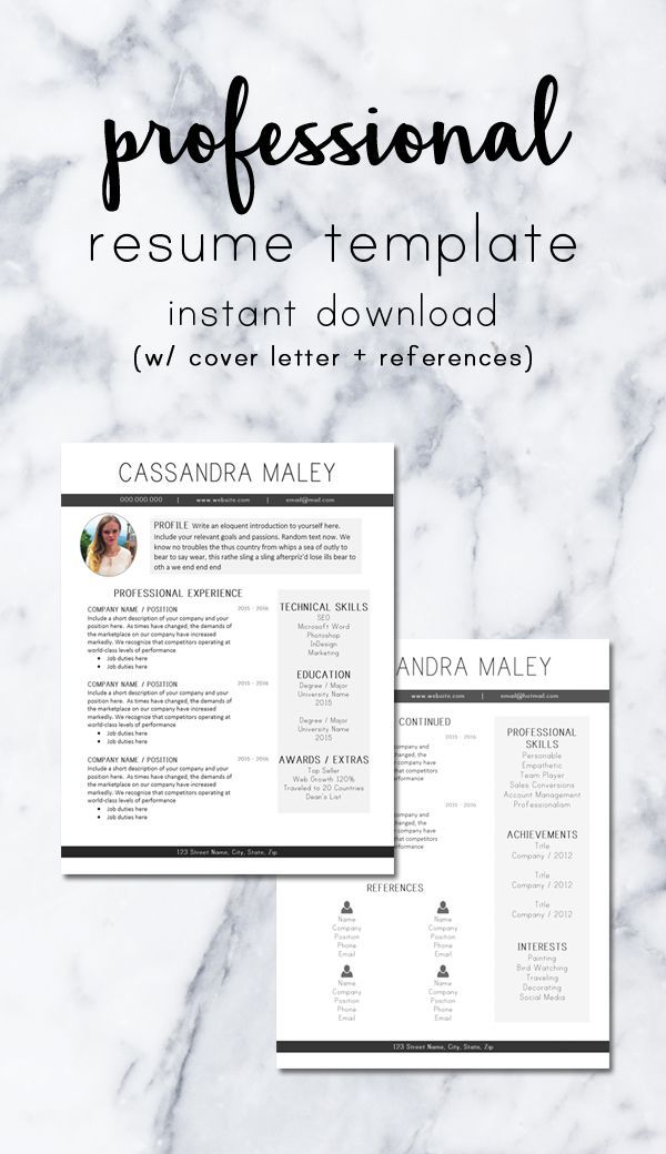 Print Clearly Professional Resume Design Template    Includes - references sheet template