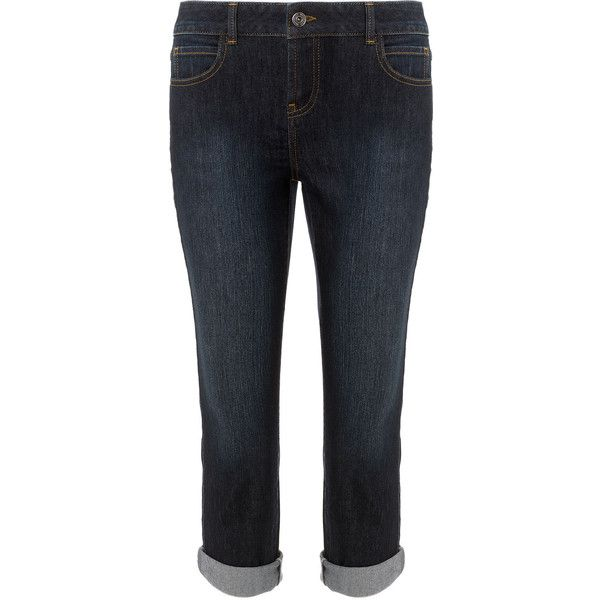 Monsoon Izzie Capri Jeans ($20) ❤ liked on Polyvore featuring jeans, pants, bottoms, pantalones, capri, indigo, cuff jeans, relaxed fit jeans, stretch blue jeans and blue capris