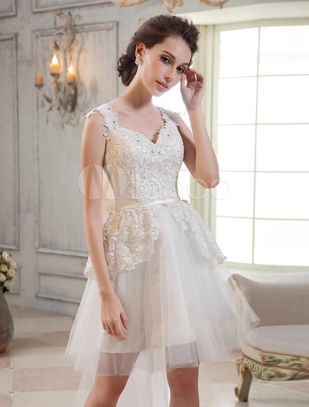 17++ V neck a line tulle wedding dress info