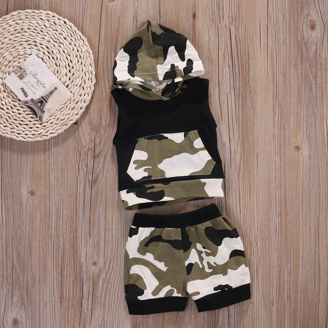 8c8abf865 Baby Boys Girls 2pcs Outfit Camo Hooded Vest T Shirt Tops with Pocket  Shorts Set 0~6months >>> Check out this great product.(It is Amazon  affiliate link) # ...