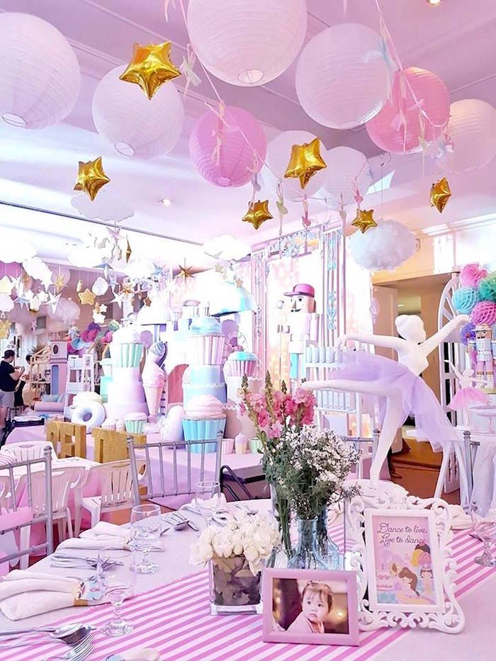 Guest table partyscape from a Nutcracker Ballerina Birthday Party