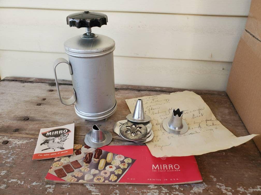 Cookie Press with recipes Mirro Cookie Press Vintage Antique Spritz cookie Press Wearever Cookiepress Butter Cookie Press