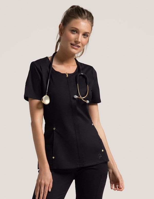 Hidden Zipper Top in Black - Medical Scrubs by Jaanuu