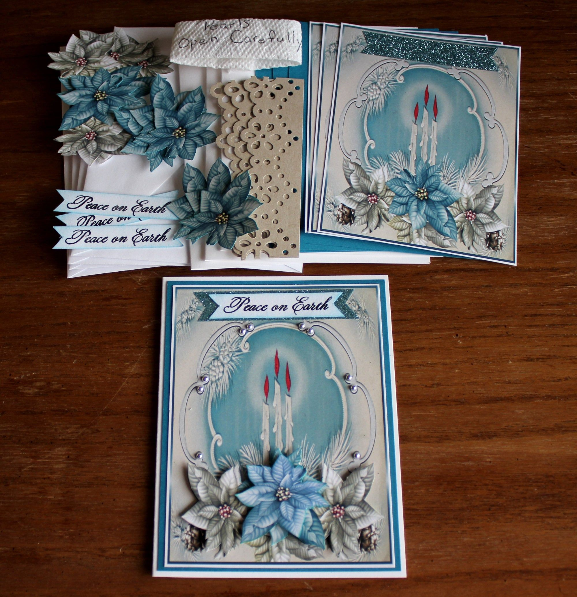 diy card kit 3d candles and blue poinsettias holiday cards