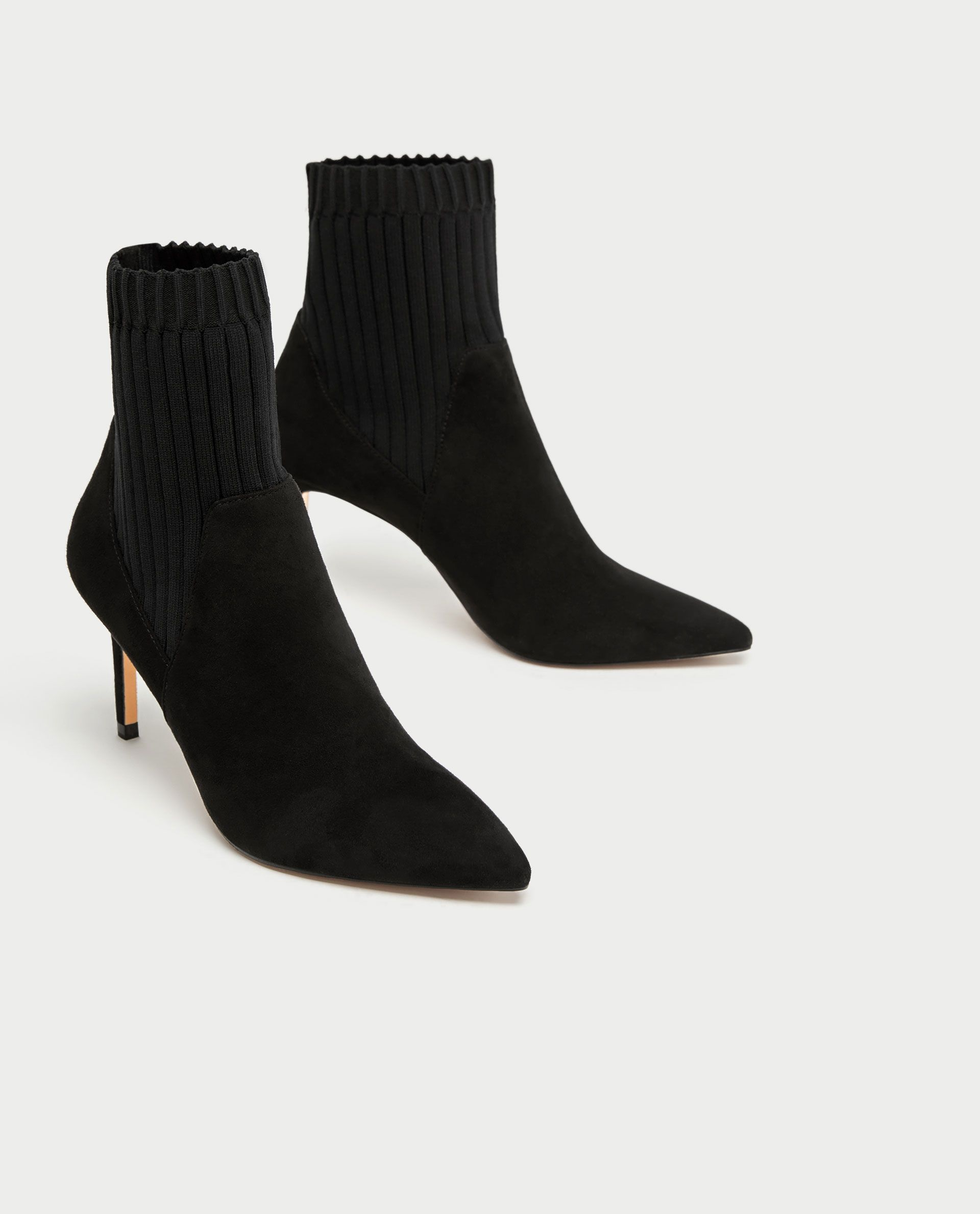 high heel sock style ankle boots