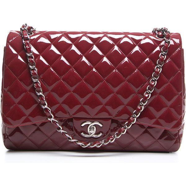 Chanel Pre Owned Red Patent Leather Maxi Double Flap Bag