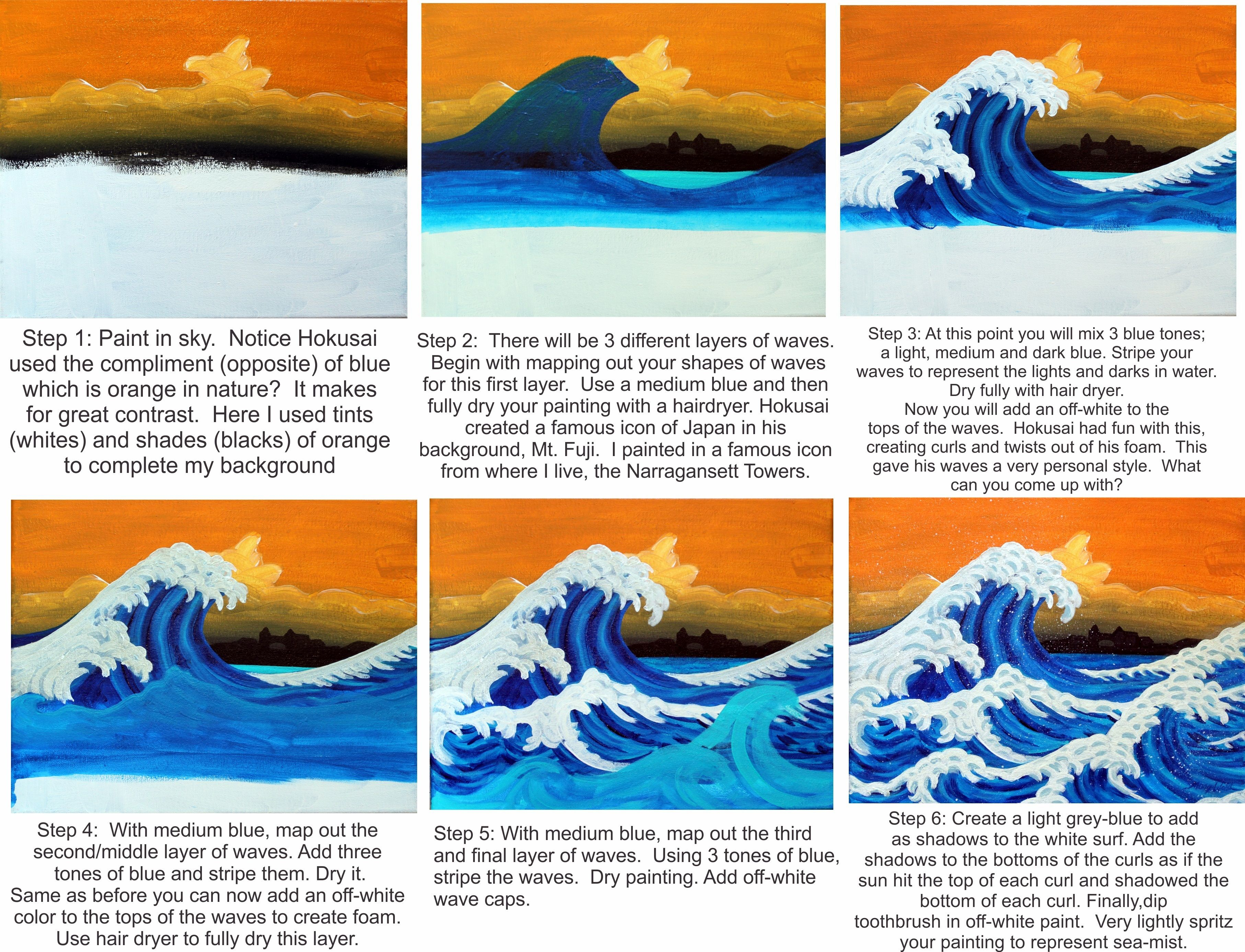 making waves kid art lessons primary school art wave