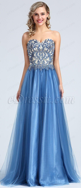 Strapless Blue Beaded Embroidery Evening Dress #eDressit | eDressit ...