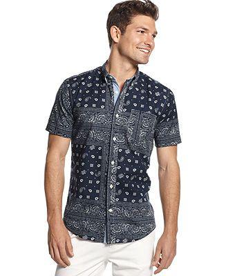 6a50638e Tommy Hilfiger Dean Pieced Bandana Custom-Fit Shirt - Casual Button-Down  Shirts - Men - Macy's