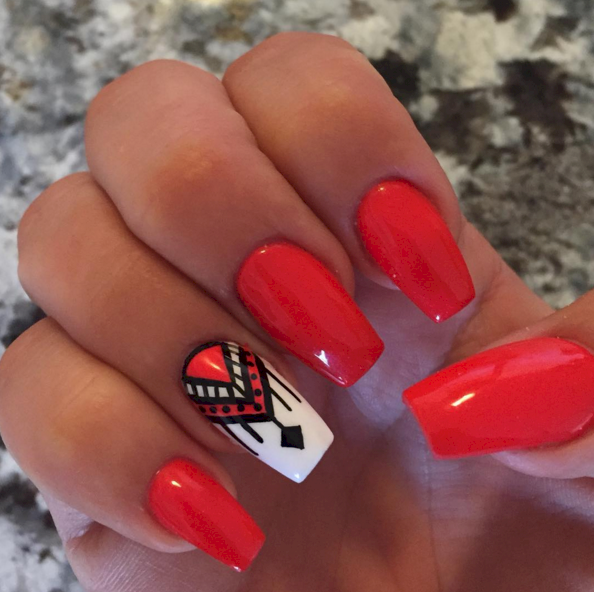 15 Cute Tribal Nail Designs - 15 Cute Tribal Nail Designs Rock, Red Nails And Nail Nail