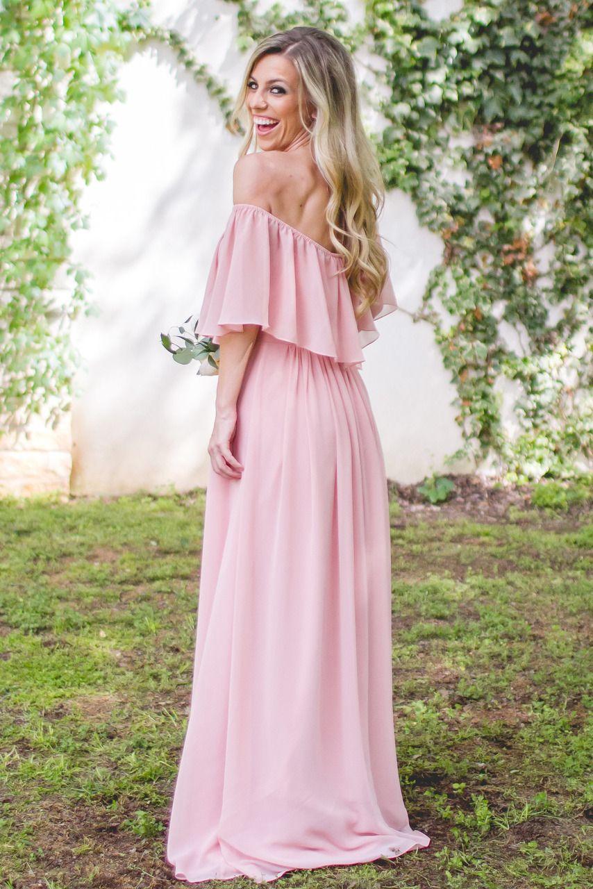 Long Off-the-shoulder Chiffon Bridesmaid Dress,Charming Bridesmaid ...
