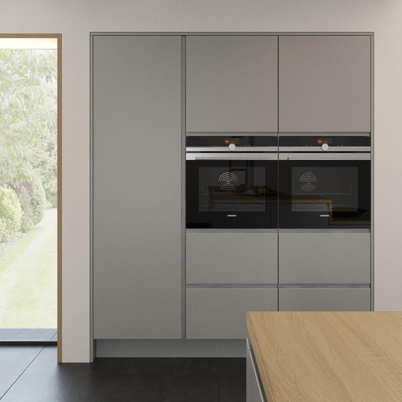 Best Strada Matte Light Grey Handleless Kitchen Featuring 640 x 480