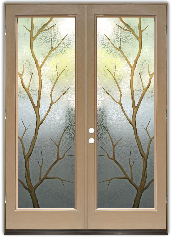 Branch Out in Color Double Entry Doors Hand crafted sandblast