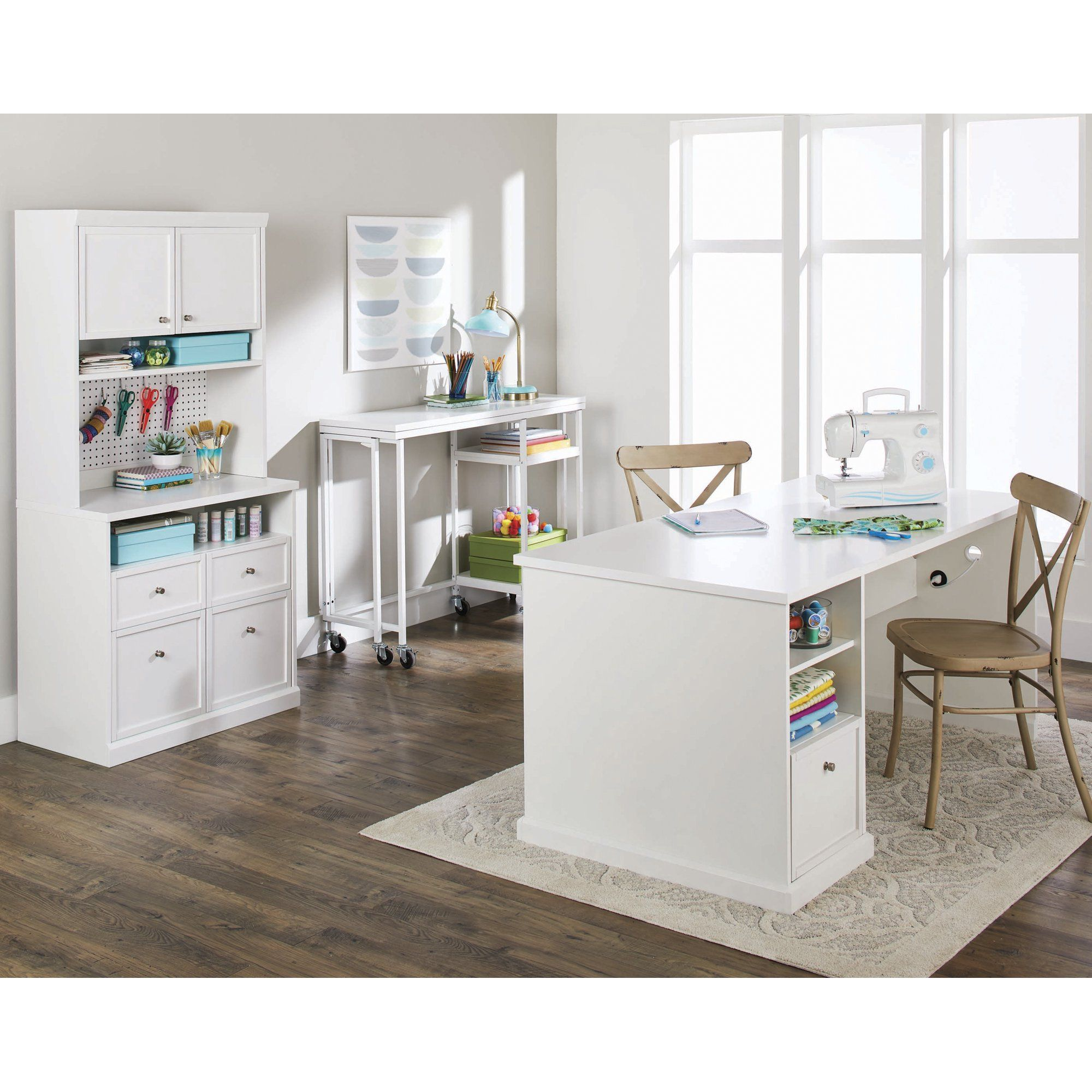 Better Homes Gardens Craftform Counter Height Fold Out Craft Table White Finish Walmart Com Office Craft Room Combo Craft Table Craft Room Desk