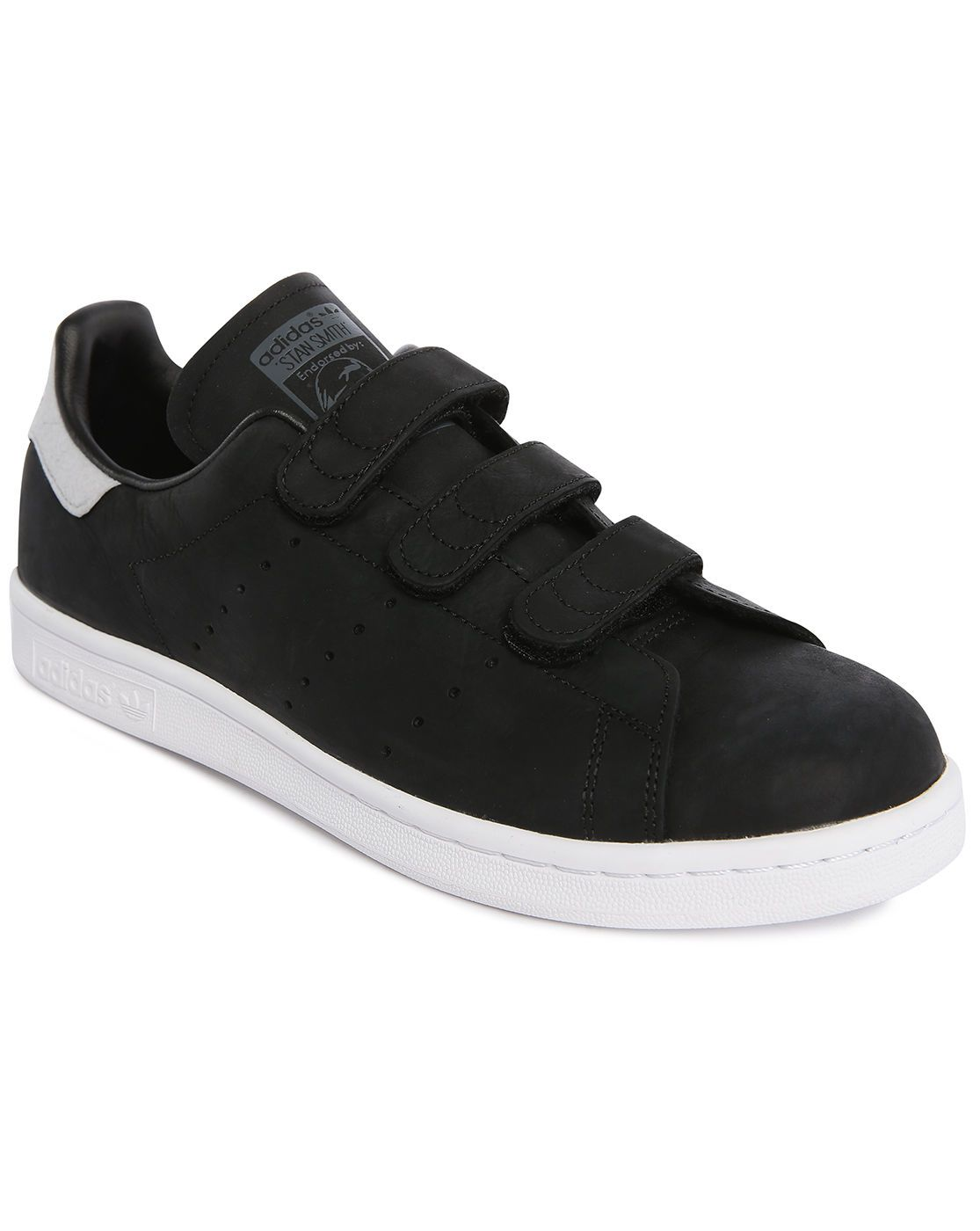 velcro sneakers | Adidas originals Stan Smith Black Leather Velcro Sneakers  in Black for .