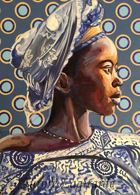 Sourires Lointains Bleu Sénégal portrait voyage peinture - pose papier a peindre