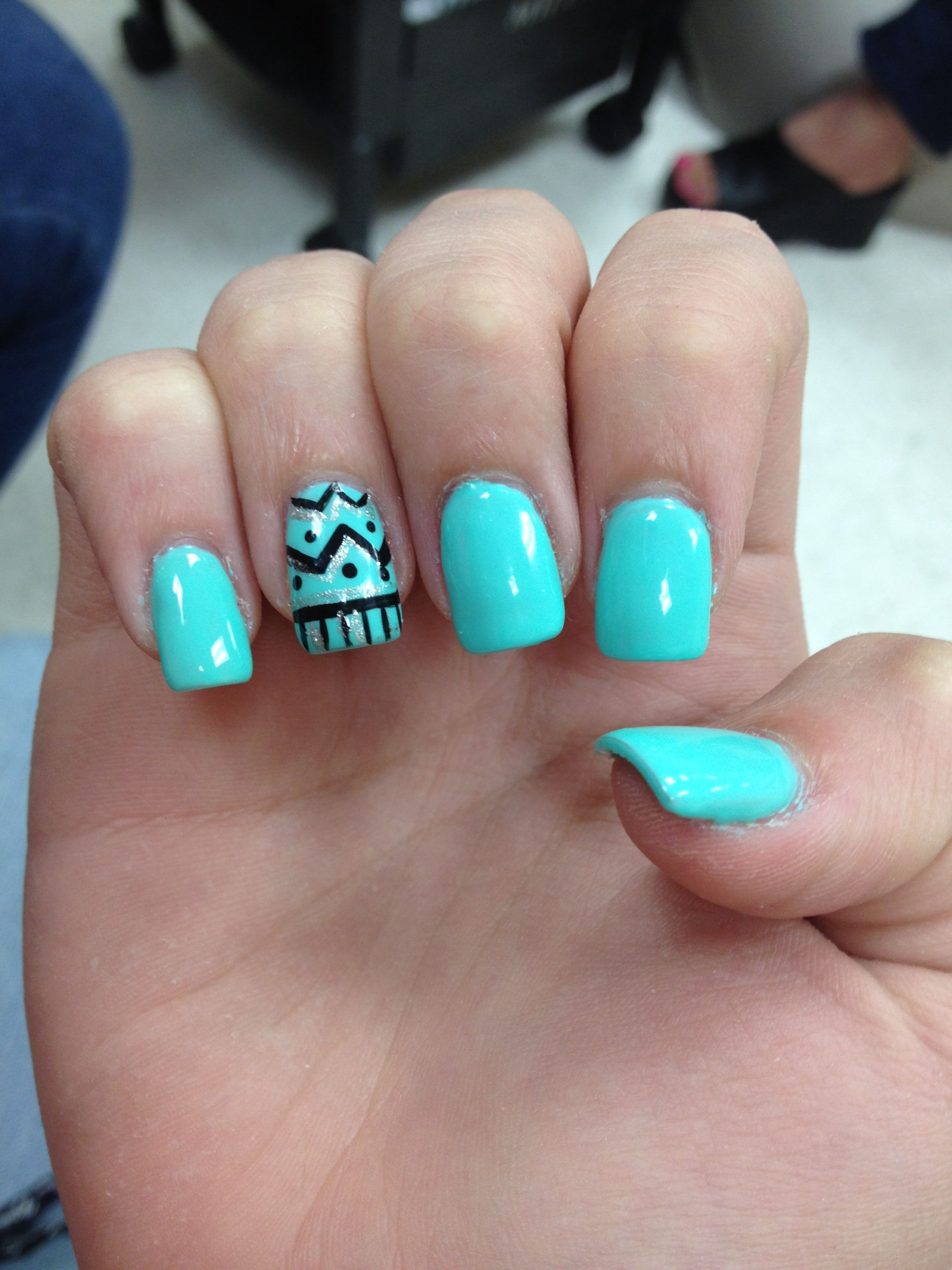 Light Bright Blue Green Nails With Aztec Design Perfect For The