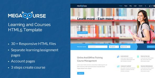 megacourse learning and courses html5 template preview image