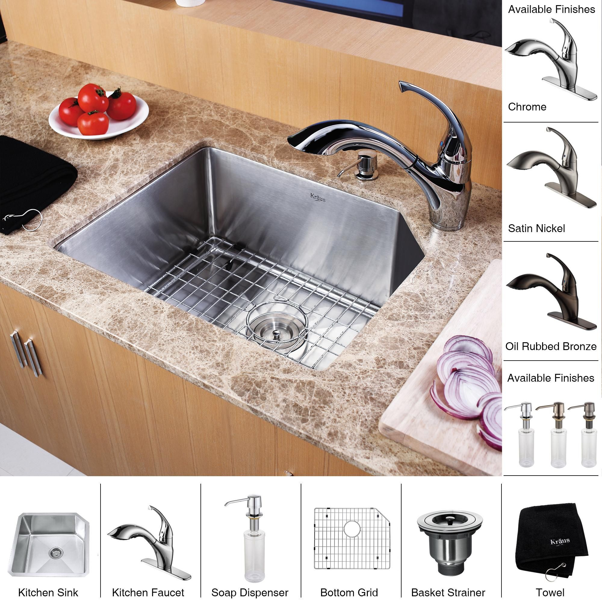 Kraus Kitchen Combo Set 23 Inch Undermount Sink With Faucet