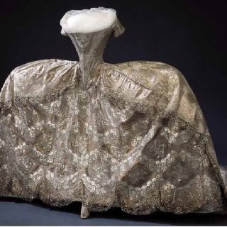 The front of Marie Antoinette's dress on display at Versailles.