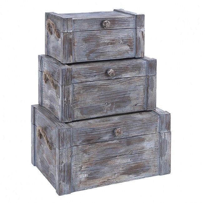 Set of 3 Weathered Wood Storange Trunk Boxes