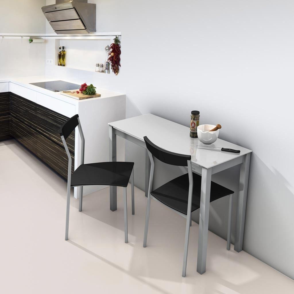 Mesa de cocina extensible modelo Unicca con sobre de cristal en ...