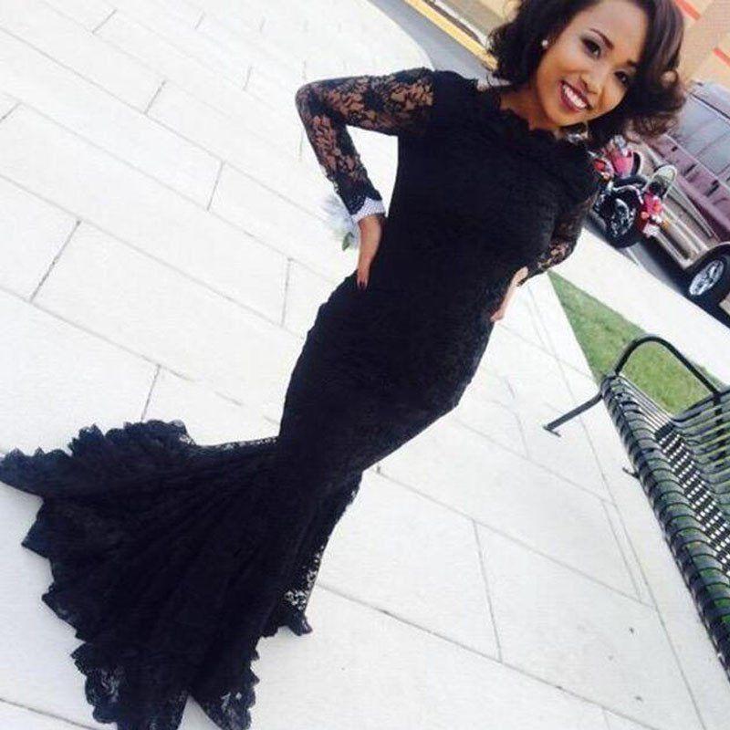 Mermaid Black Lace Long Sleeve Sexy Long Evening Prom Dress Bg51026