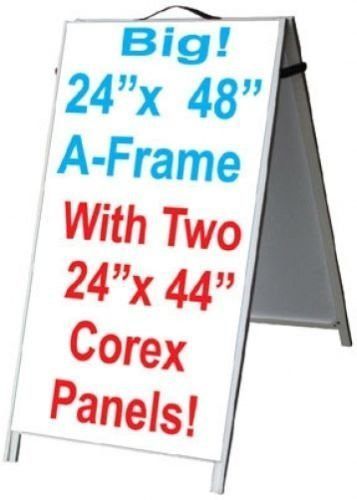 Aluminum A Frame 24x48 Double Sided Sidewalk Sign W2 White Corex