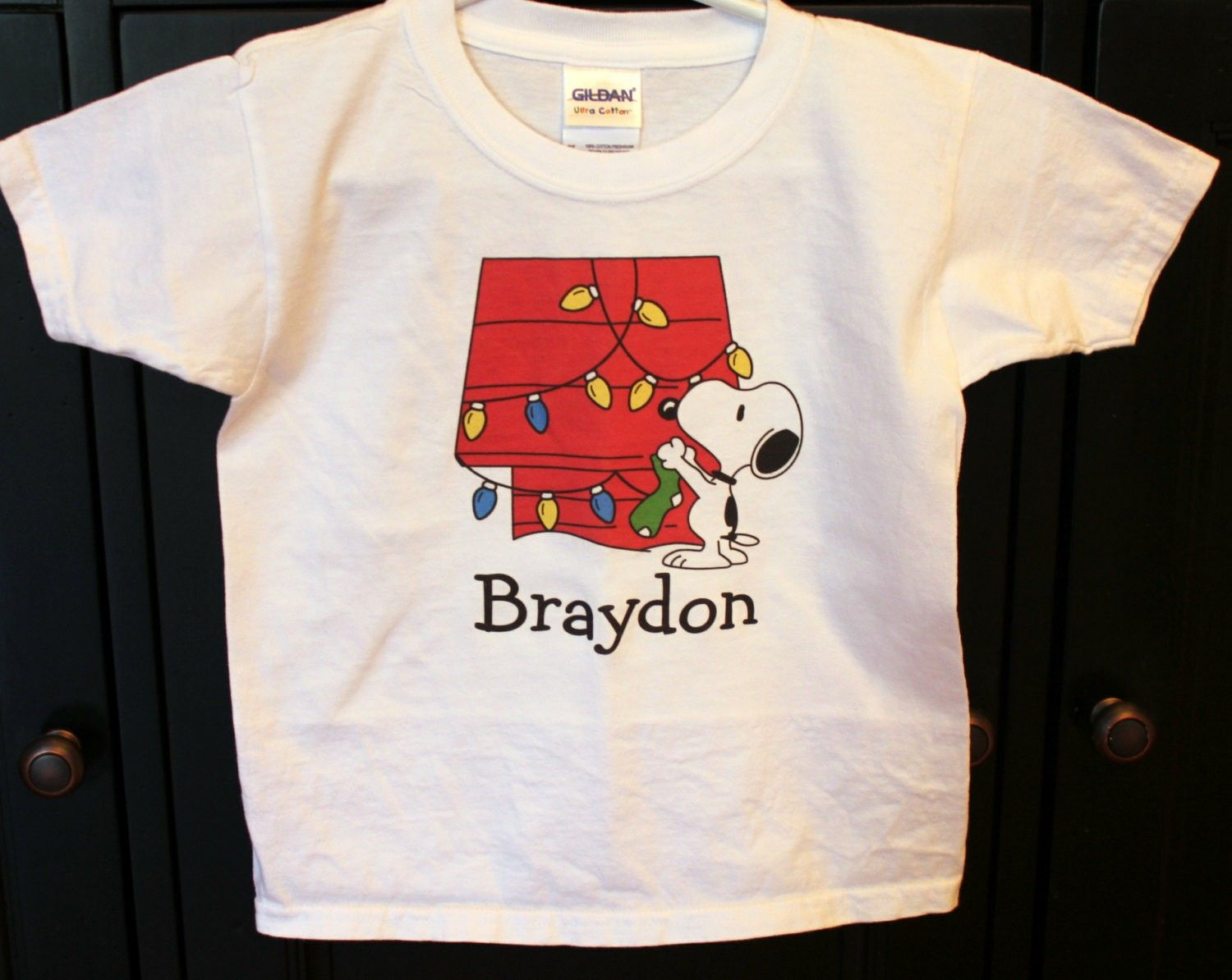 snoopy christmas personalized bodysuit or toddler shirt peanuts snoopy house - Snoopy Christmas Shirt
