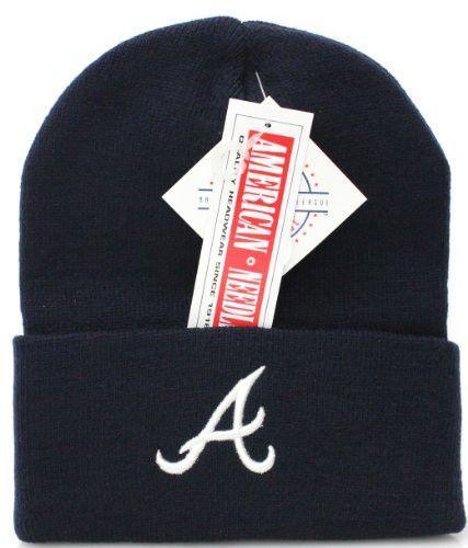 03c71456161 New! MLB Atlanta Braves Navy Embroidered Beanie Skull Cap with Cuff ...