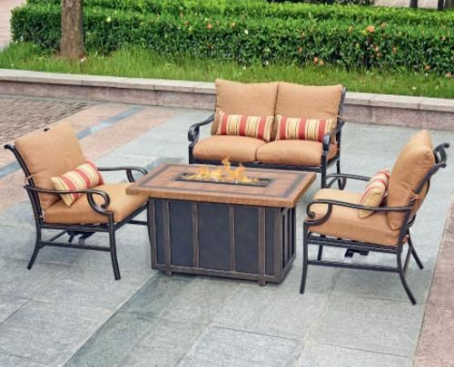 Menards Patio Furniture Choose The Best For Your Courtyard Decorifusta In 2020 Backyard Creations Patio Furniture Collection Fire Pit Patio Set