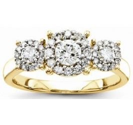 14K Yellow Gold Vintage Three Stone Diamond Halo Engagement Ring