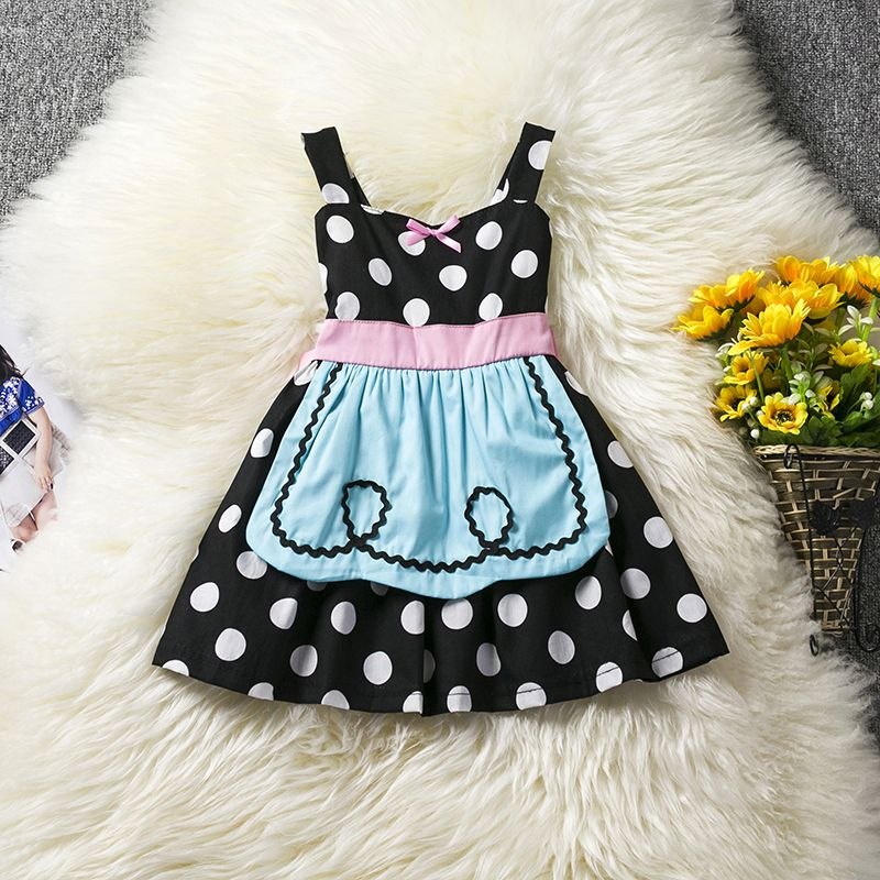 5833fefd32b6 Girl Polka Dot Cotton Dress Cosplay Fancy Dress Baby Cute Suspender ...