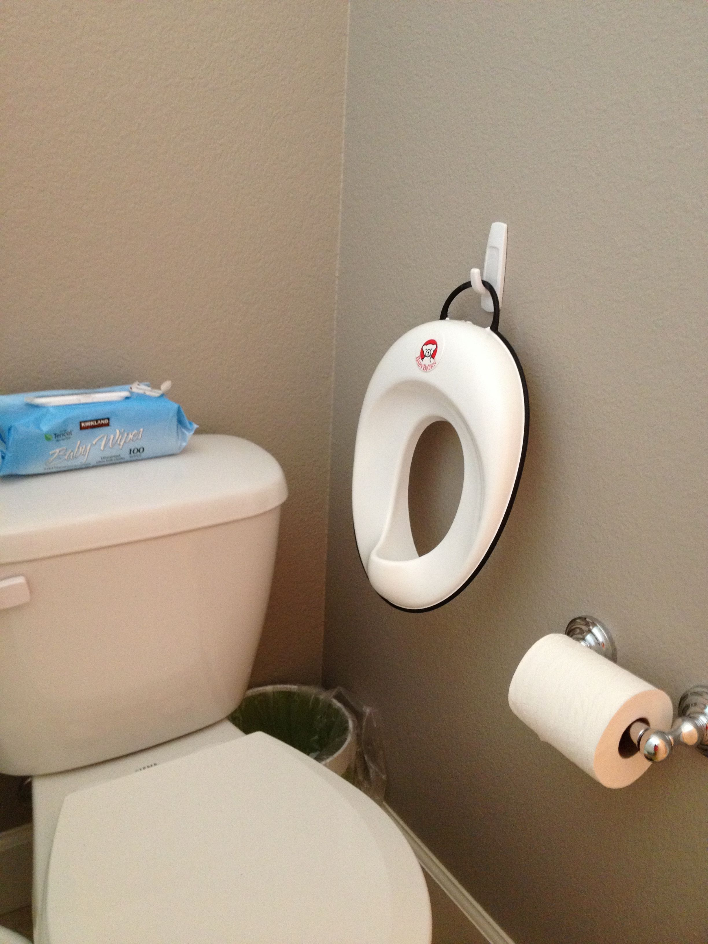 Handy Way To Store The Potty Seat So Others Can Use The Toilet Command Hooks Rock Potty Seat Bathroom Organization Clean My House