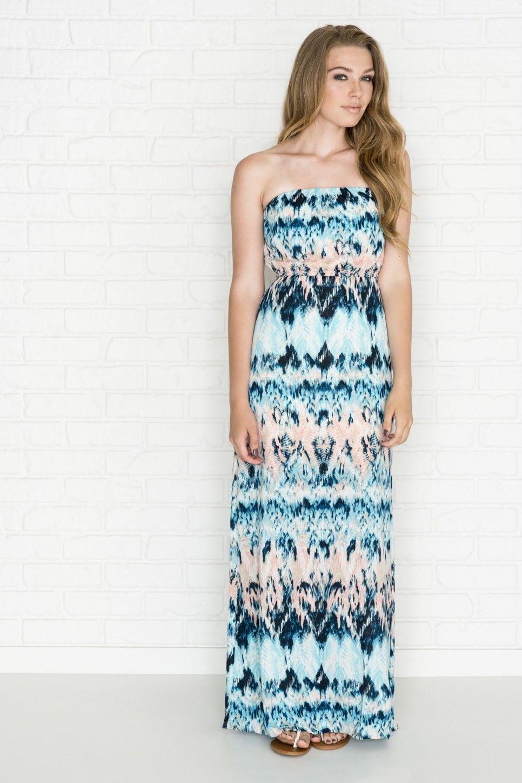 Ardene blue u peach print strapless maxi dress clothes