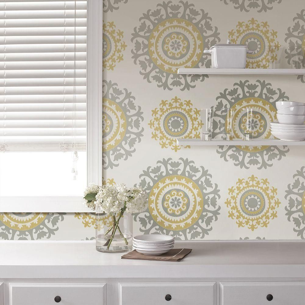 Nuwallpaper Grey And Yellow Suzani Vinyl Strippable Wallpaper Covers 30 75 Sq Ft Nu1652 The Home Depot Peel And Stick Wallpaper Nuwallpaper Suzani