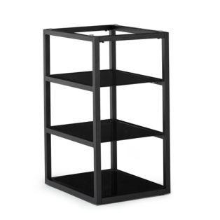 Trteau caisson de bureau en verre noir avec 3 tablettes