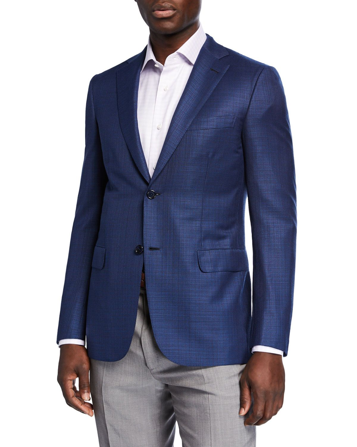 Men S Textured Wool Two Button Jacket In Blue Jacket Buttons Brioni Men Jackets