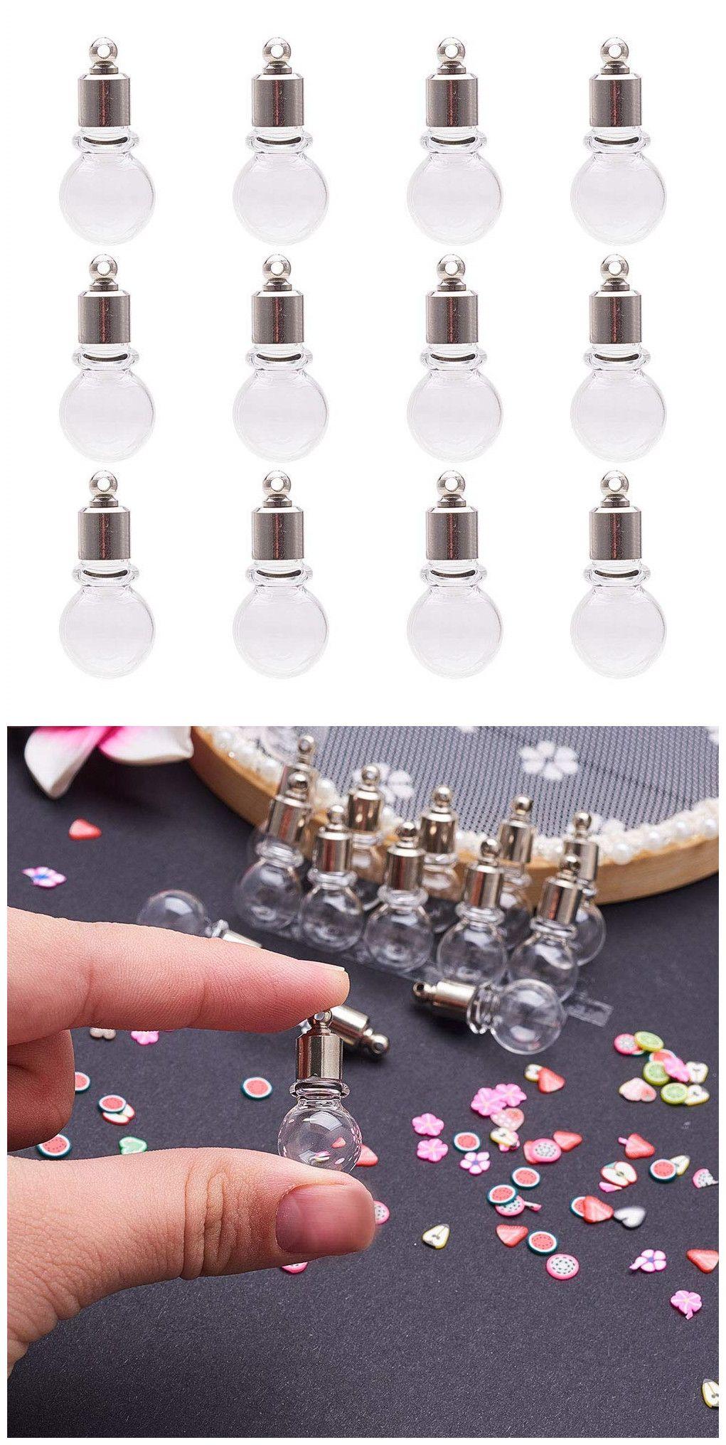 10pcs GLOBE GLASS VIALS bottles SCREW TOP bottle CHARMS light bulb vial PENDANTS