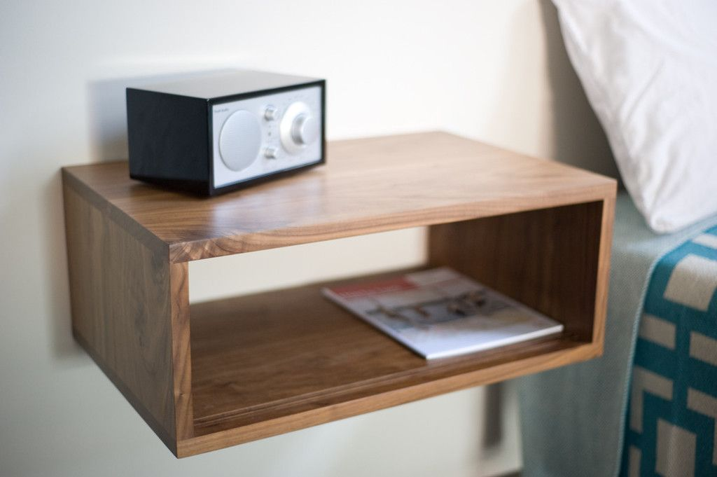 Minimalist Wall Mounted Wooden Varnished Slide Bedside Table Design With Cubical Black Silver Radio And New Edition Magazine Modern