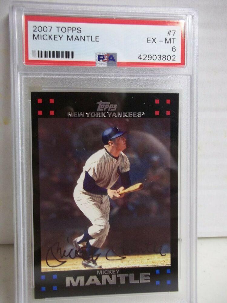 2007 Topps Mickey Mantle Psa Ex Mt 6 Baseball Card 7 Mlb Hof Newyorkyankees Baseball Cards Mickey Mantle Baseball