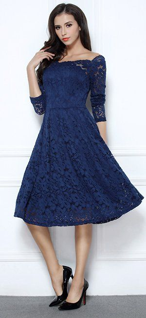 e88e862f387 MissMay Women s Vintage Floral Lace Long Sleeve Boat Neck Cocktail Formal  Swing Dress Navy Blue X-Large