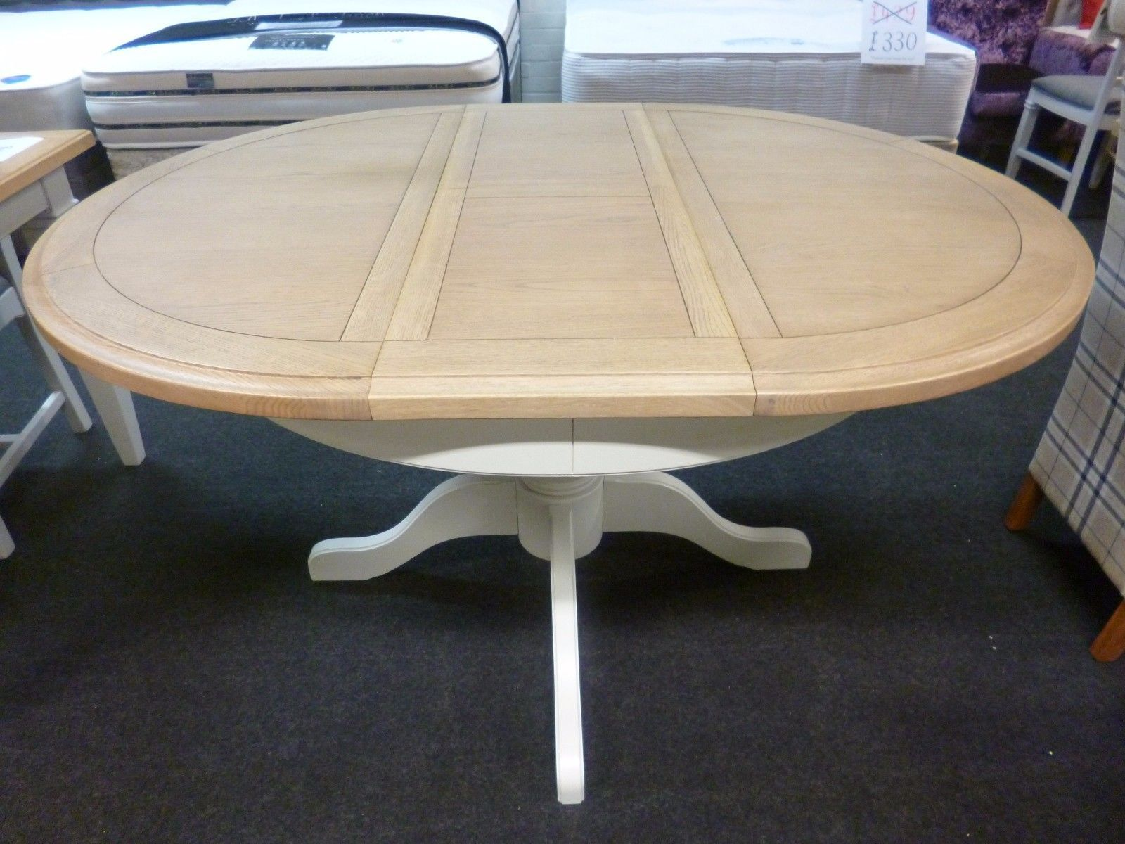 New Light Grey & Oak Round Extending Pedestal Dining Table