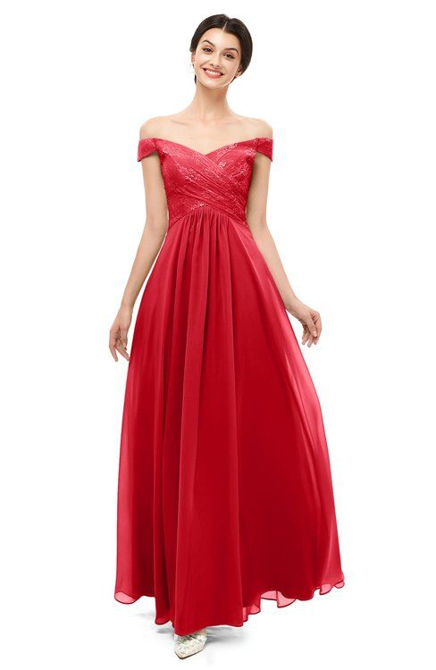 d7e4562c7ed3 ColsBM Lilith Red Bridesmaid Dresses Off The Shoulder Pleated Short Sleeve  Romantic Zip up A-line