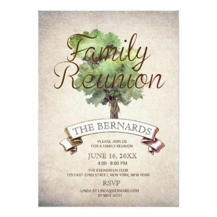 Watercolor Tree Vintage Family Reunion Invitation  Familyreunion