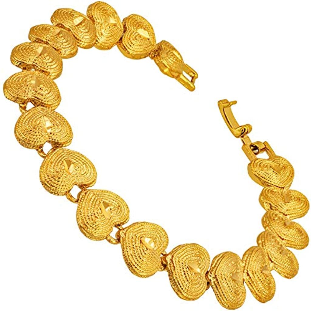 11mm Grooved Hearts Bracelet for Women Girls 24k Gold Plated with Free Lifetime Replacement