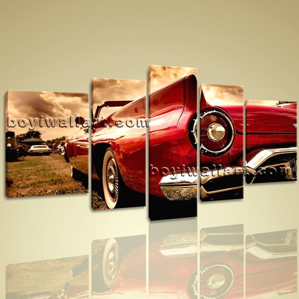 Vintage red car xxl large contemporary wall art print on canvas