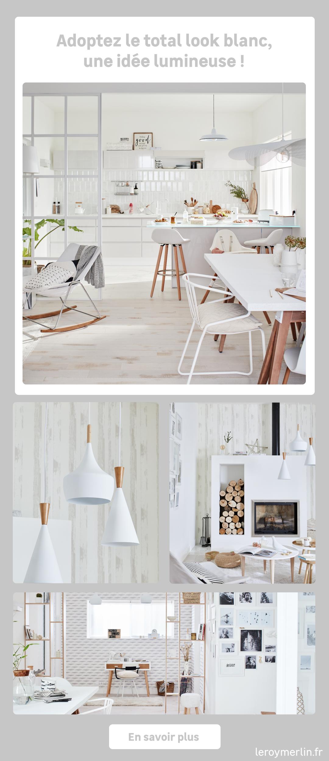 Un séjour total look blanc  Deco salon blanc, Décoration cuisine
