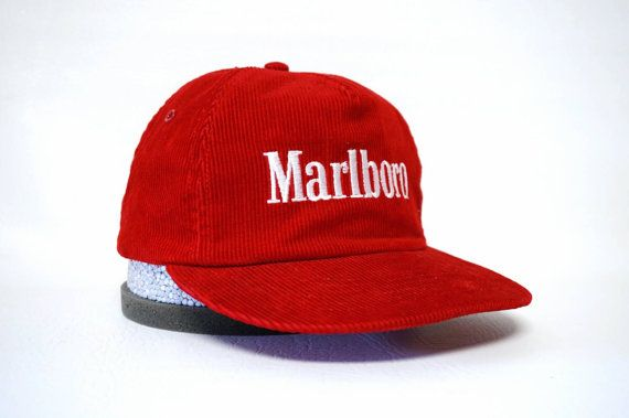 Corduroy Marlboro Hat - Red Vintage Snapback with Embroidered Logo ... 665749b830de